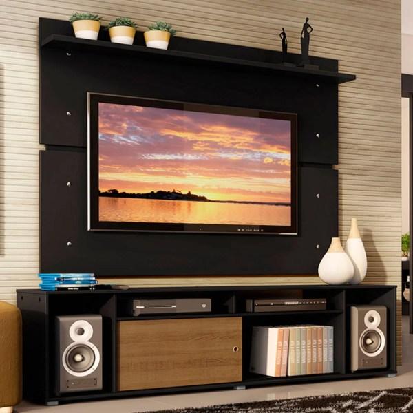 Rack Madesa Cancun e Painel para TV até 65 Polegadas Preto/Rustic D88N