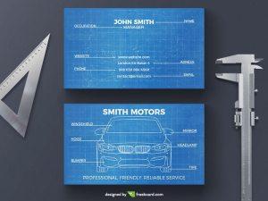 Car blueprint business card