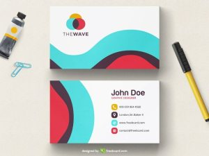 Simple wavy colored business card tempalte