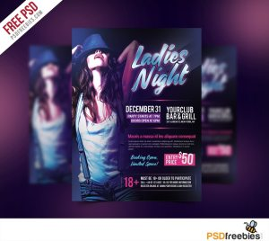 Creative Ladies Night Flyer Free PSD Template