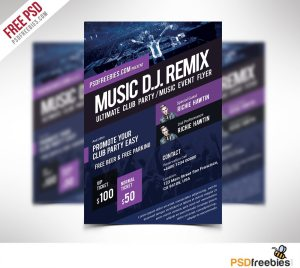 Creative Music Event Flyer Template Free PSD