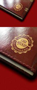 Creative Vintage Leather Book Logo Mockup