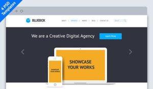 Creative BlueBox: Flat Website PSD Template