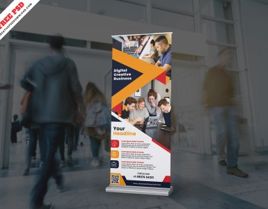 roll up banner design free psd
