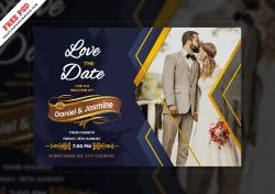 Wedding Card Creative & Beautiful Design Free PSD