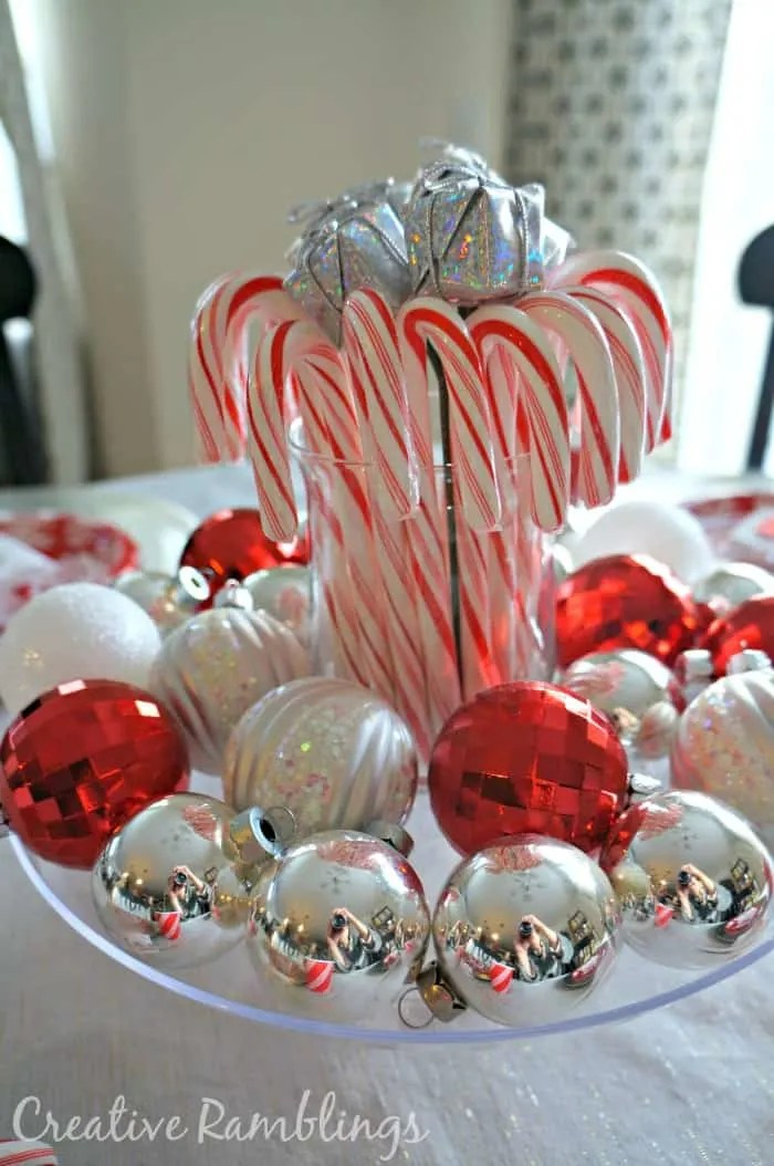 Christmas table decorations with candy canes