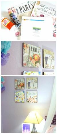 Paris Themed Scrapbook Paper Wall Art - Creative Ramblings