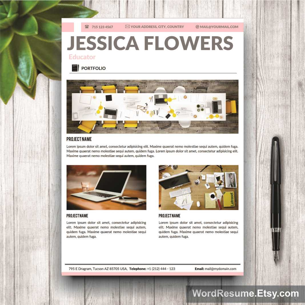 """Resume Template For Ms Word – """"Jessica Flowers"""""""