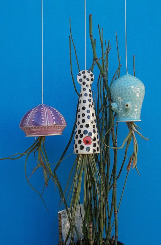 Ceramic Cephalopod and Jellyfish Air Plant Holders By Cindy Et James Searles  Gift Ideas