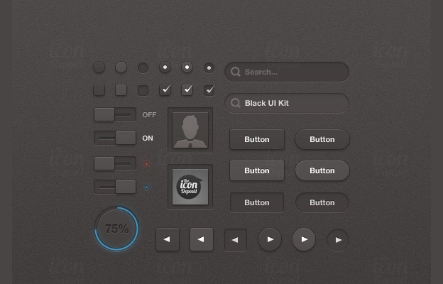 Black UI Kit 40+ Free Web Elements