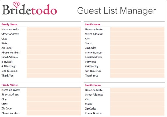 Wedding Guest List Templates Excel Wedding Invitation Sample – Free Wedding Guest List Template