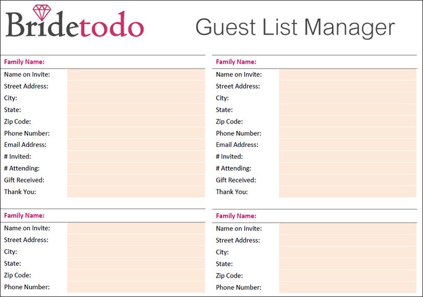 Wedding Guest List Manager Template