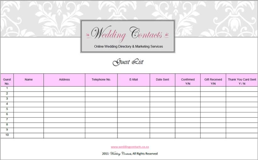Free Printable Wedding Guest List Manager | deweddingjpg.com