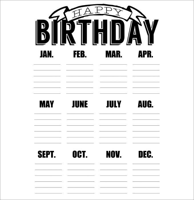 42+ Birthday Calendar Templates Free & Premium Designs