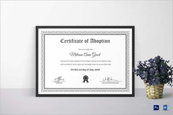 17 Adoption Certificate Templates Free PDF Word Design