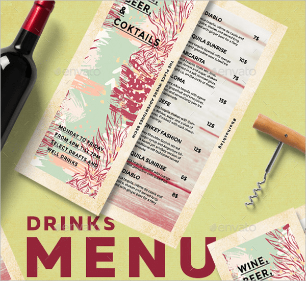 54+ Drink Menu Templates Free PSD, Word Design Ideas