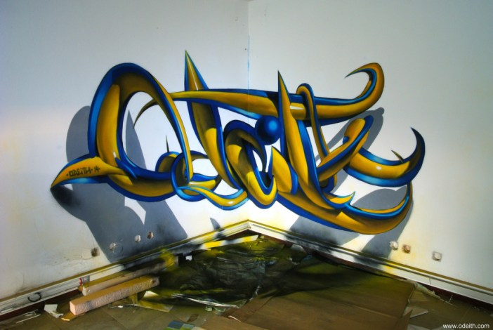 odeith-anamorphic-3d-graffiti-letters-plastic-blue-yellow-tubes