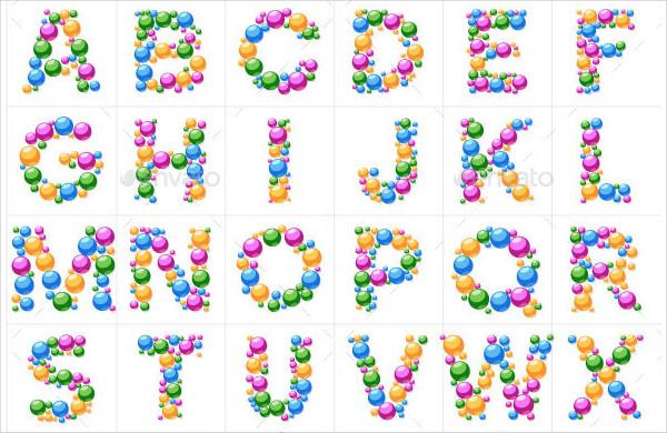 Alphabet Symbols of Bubbles