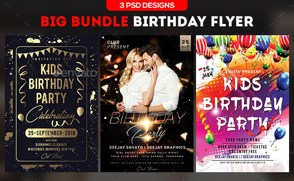 Big Birthday Flyer Templates Bundle