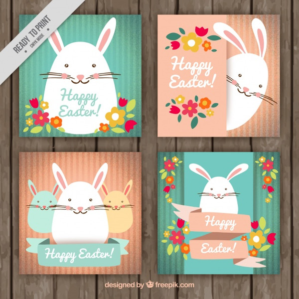 Pretty Easter Cards with Bunnies and Flowers Free