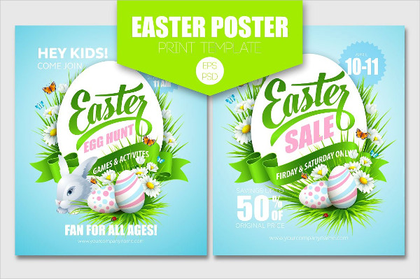 Easter Sale Poster Print Template
