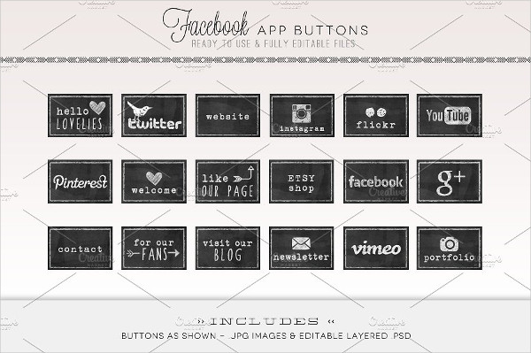 Fully Editable Facebook App Buttons