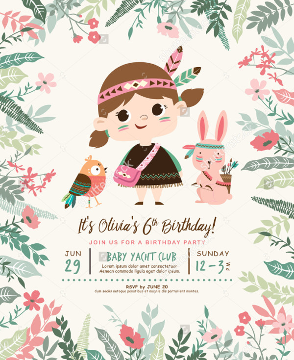 Little Kids Birthday Party Invitation Card