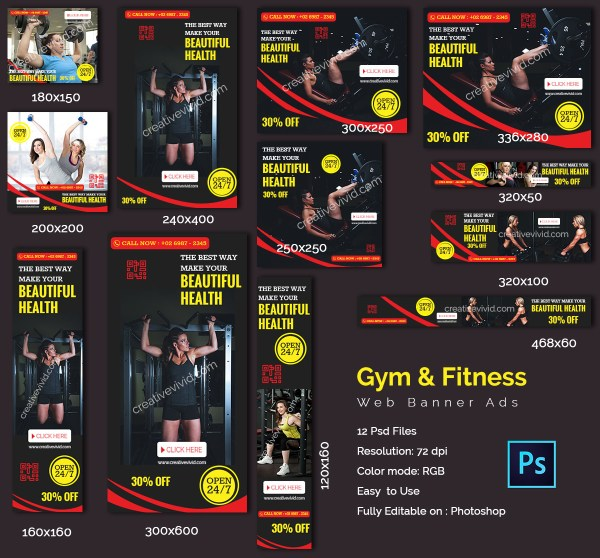 Best Gym & Fitness Web Banners