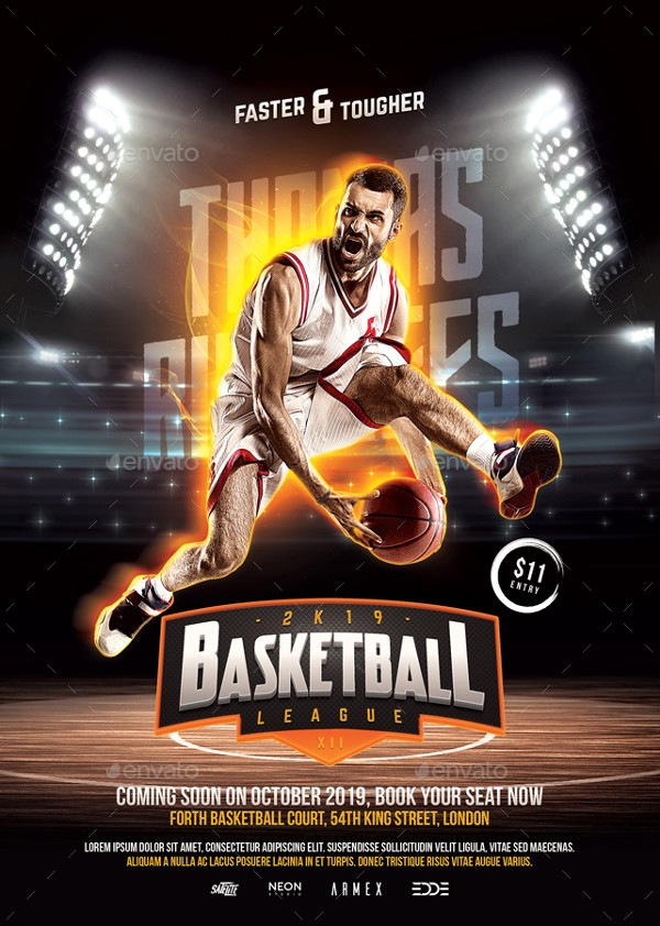 Modern Basketball League Flyer Template