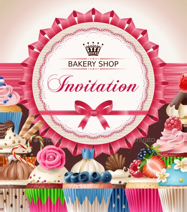 Bakery Shop Opening Invitation Poster Design