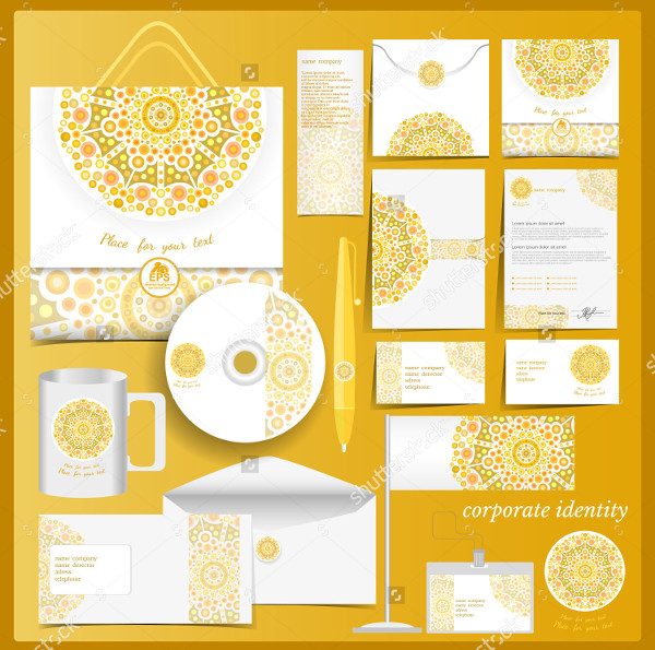 White Corporate Identity Template with Yellow Elements