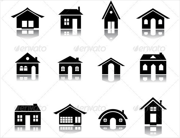 Vector Set of 12 Different Home Icons