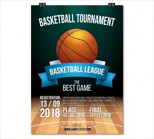 Basketball League Poster Template Free
