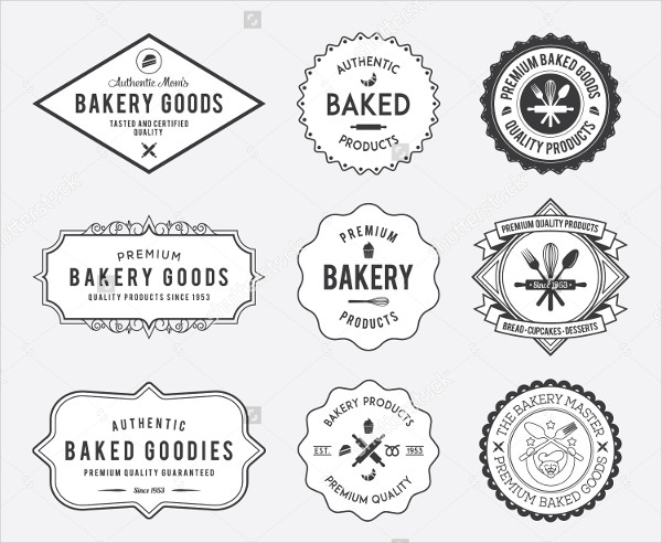 Black Bakery Badges on White Background Vector