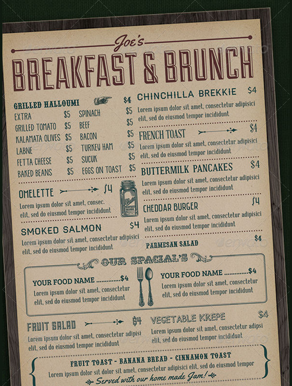 Hotel Breakfast Menu Designs