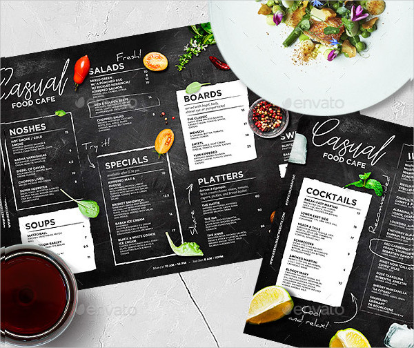 Chalkboard Cafe Menu Templates