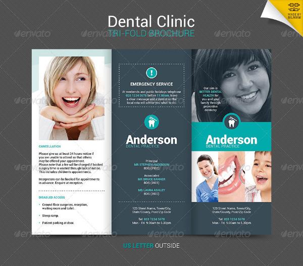 Dental Clinic Trifold Brochure Template