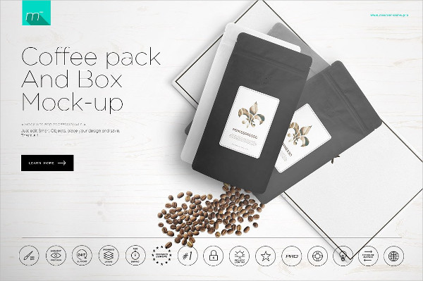 Coffee Pack and Box Mock-Up