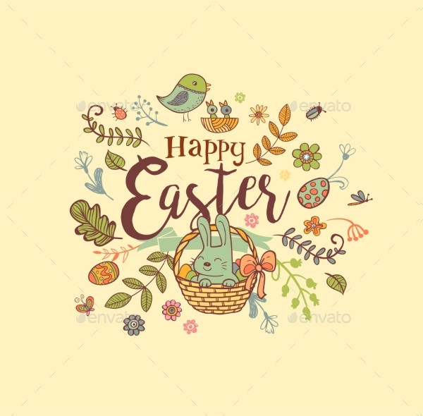 Cute Easter Holiday Banner in Doodle Style