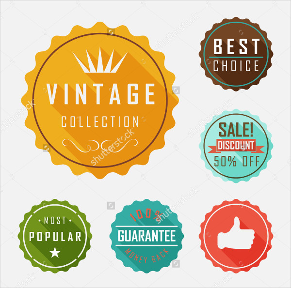 Retro Badge and Label Flat Design with long Shadow