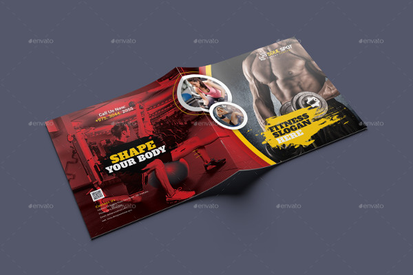 Fitness Square Bifold Brochure Template
