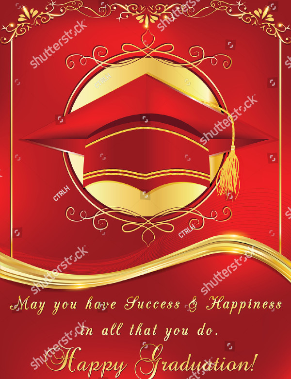 Graduation Elegant Red Greeting Card Template