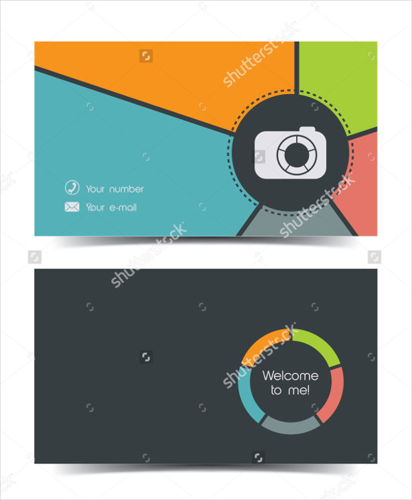 Photographer Business Card in Flat Style
