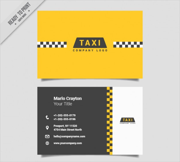 Minimal Cards for Taxi Service Free