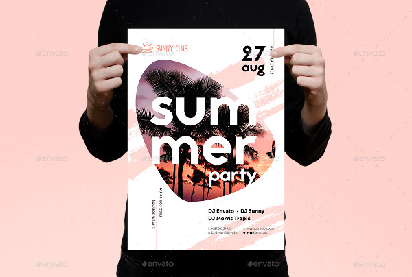 Modern Summer Club Party Poster Template