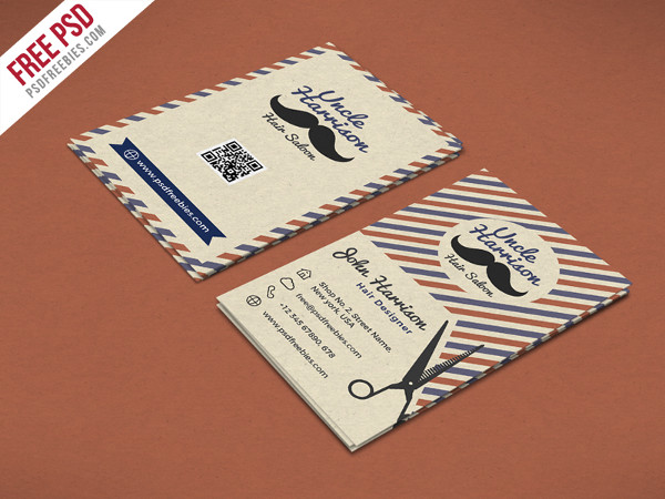 Retro Barber Shop Free Business Card PSD Template