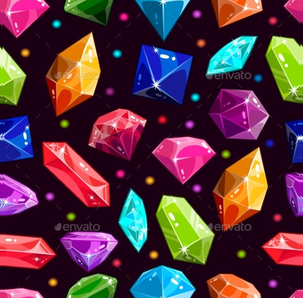 Seamless Pattern with Jewels and Diamonds