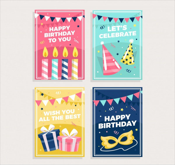 Set of Birthday Cards with Colorful Party Elements Free