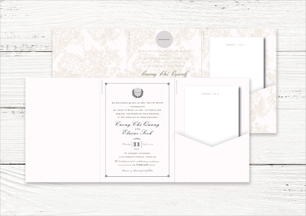 Stylish Trifold Wedding Invitation Cards