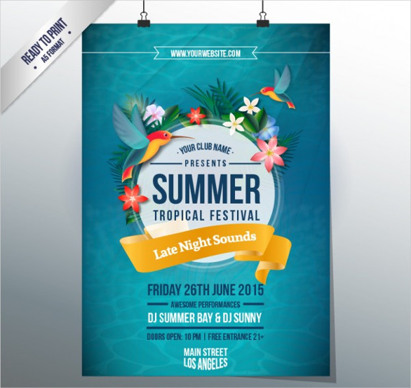 Summer Tropical Festival Poster Free Vector